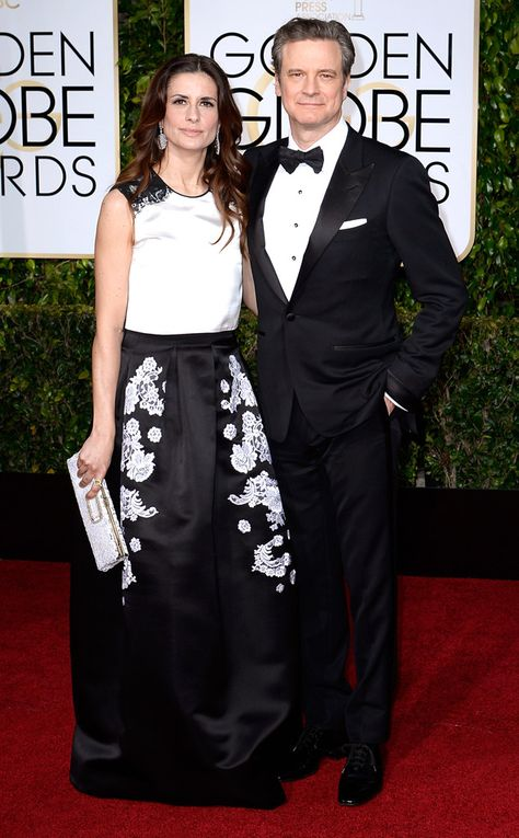 Actor Colin Firth and Livia Giuggioli at the Golden Globes Awards
