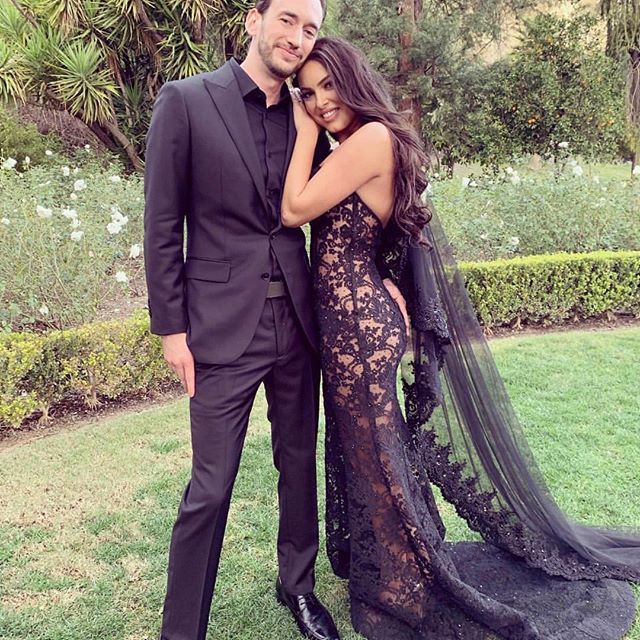 Constance Nunes in a black see-through wedding with her husband Jared Toller. Constance Nunes married her long time boyfriend Jared Toller on February 9, 2019.