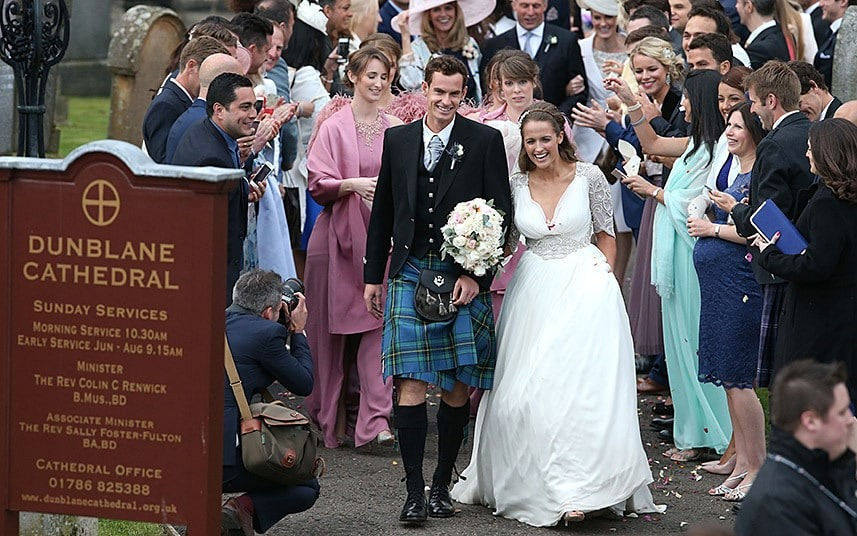 Kim Sears and Andy Murray after their wedding.