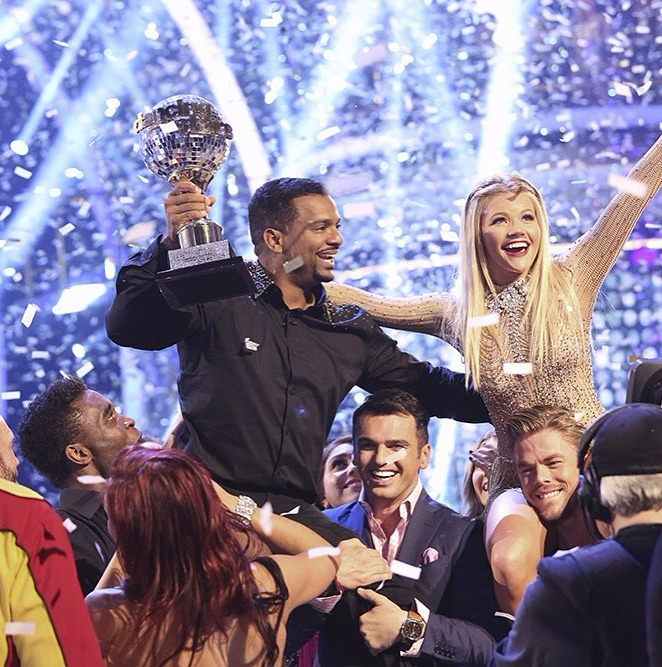 Alfono Ribeiro and Witney Carson celebrating their win in the dance reality show Dancing with the Stars
