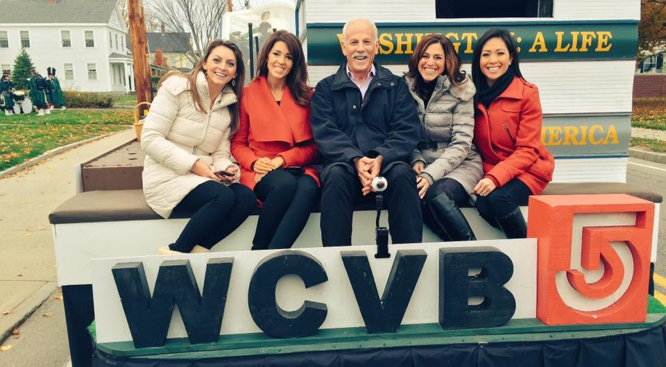 Cindy Fitzgibbon and WCVB colleages on a parade float