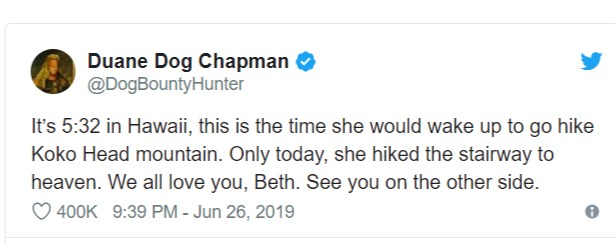 "Duane ""Dog"" Chapman shared a painful message of his wife, Beth Chapman's death on Twitter"