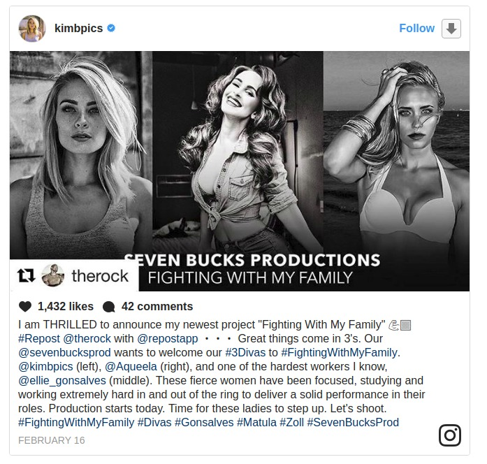 Kim Matula sharing about her newest project 'Fighting With My family' on her Instagram account.