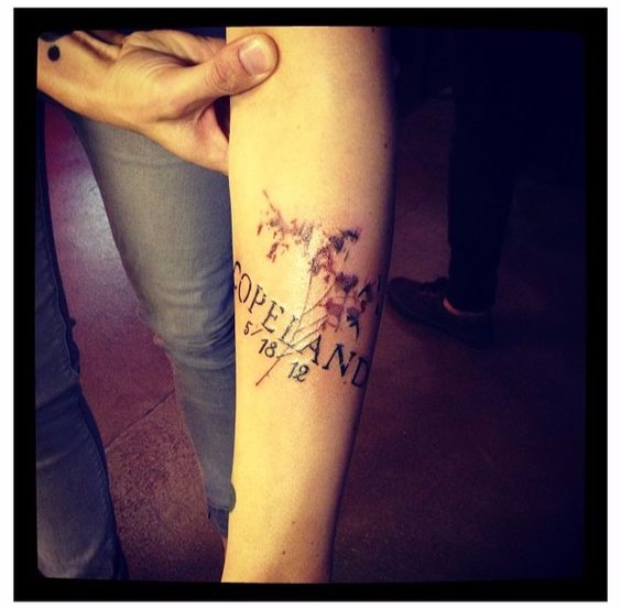 Kellin Quinn got the tattoo of her daughter's name 'Copeland' along with her date of birth. Copeland is Kellin's only child.