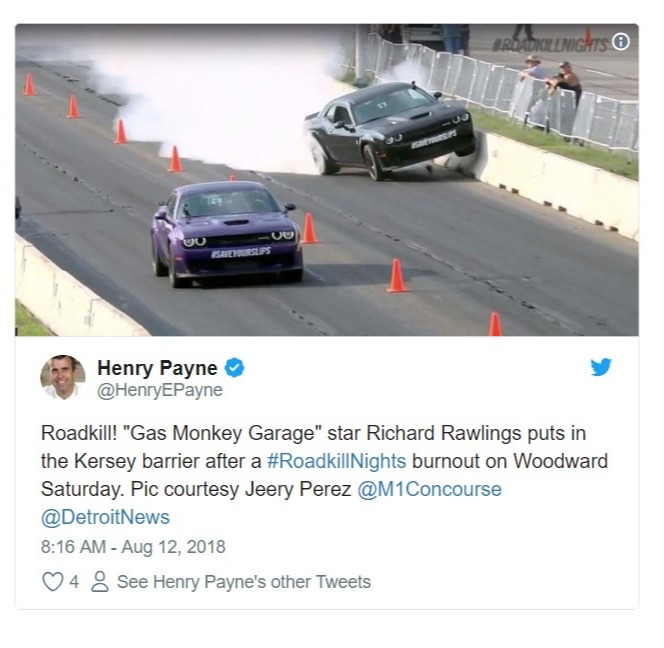 Henry Payne's tweet about Richard Rawlings accident in the Roadkill Nights while racing against Leah Pritchett