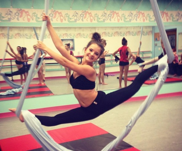 Brooke Hyland practicing her aerial moves