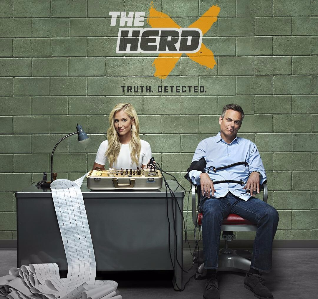 The poster for The Herd where Kristine Leahy is sitting behind a desk that has a lie detector on it. Colin Cowherd is sitting besides her strapped to his seat.