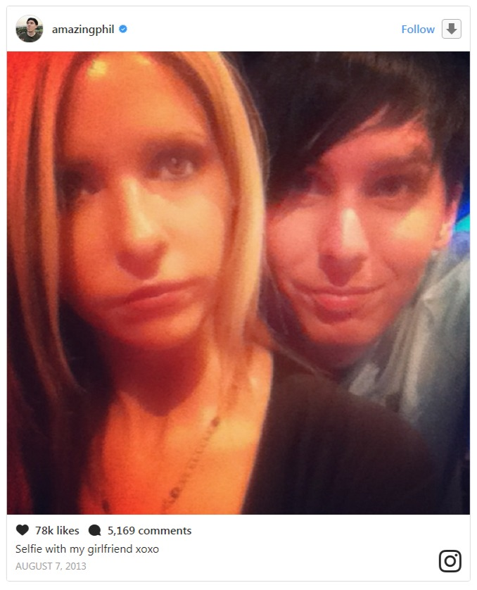 Phil Lester's Instagram pic of him and Sarah Michelle Gellar
