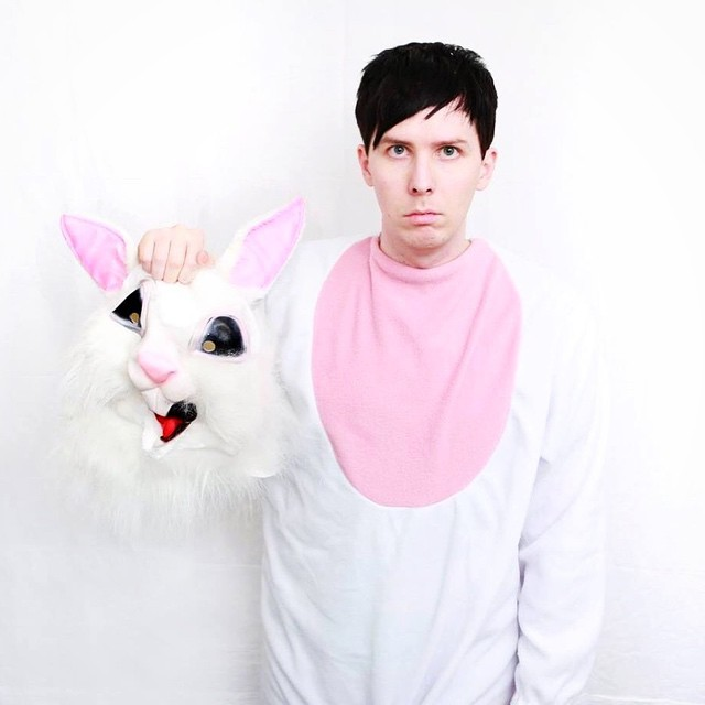 Phil Lester in a rabbit onesie
