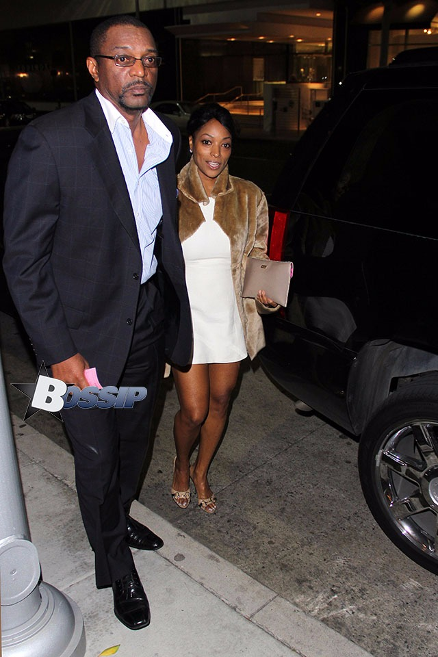 Kellita Smith pictured with an unknown man outside the restaurant Mr.Chow.