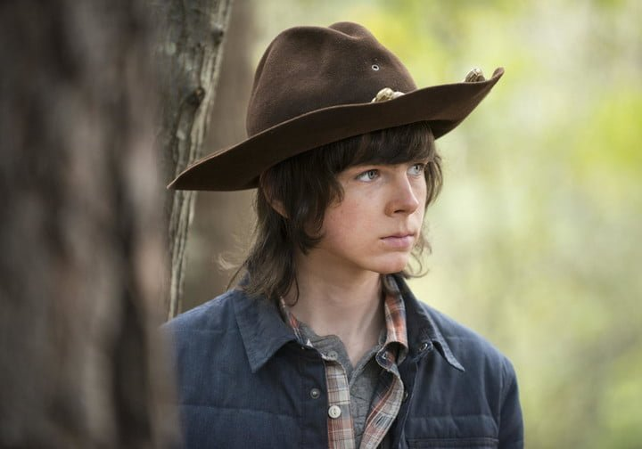 Chandler Riggs in the shooting of The Walking Dead