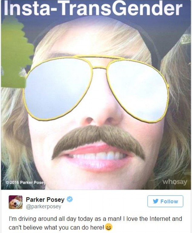 Parker Posey looking like a man with the glass , cap and mustache on with the help of snapchat filter.