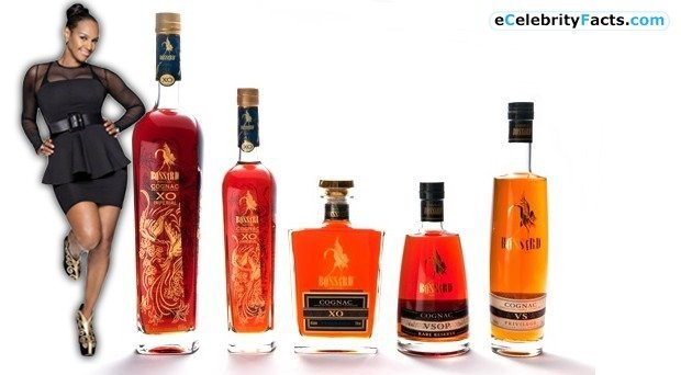 Jackie Christie's liquor line Bossard Cognac. Alongside this line of brandy, she has also launched various fashion products