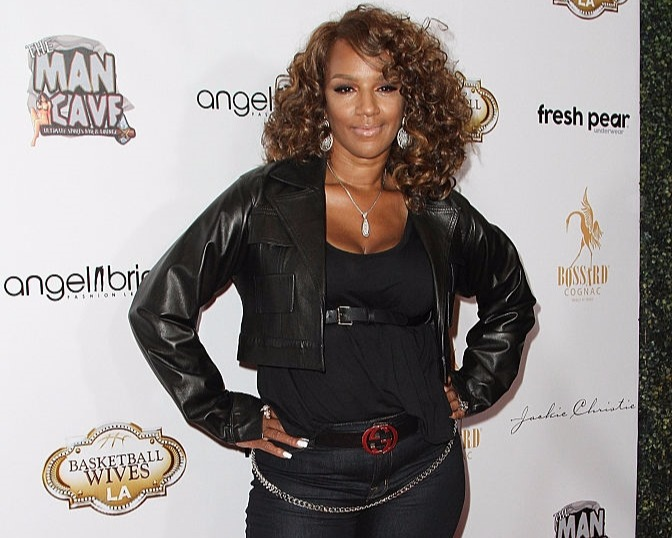 Jackie Christie attending Basketball Wives LA premiere party at The Man Cave Sports Bar and Lounge in 2015. She is the original cast of the show.
