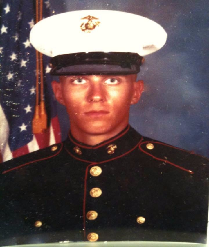 Steve Wilkos in uniform. Her served for United States Marine Corps from 1982 to 1989.