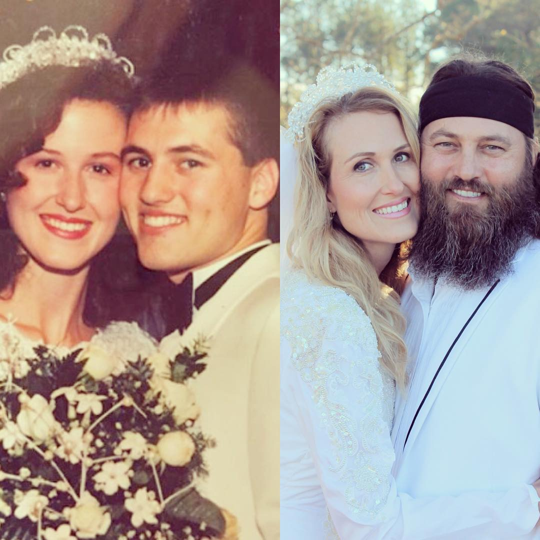 Collage of Willie Robertson and Korie Robertson's pictures. On the left is their wedding picture taken in 1992 and on the right is a similar picture taken in 2016.