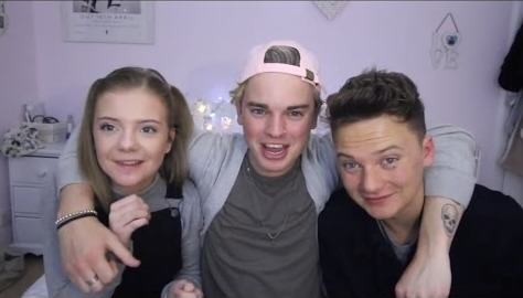 Conor Maynard with his brother Jack and sister Anna. Jack (middle) is hugging his sister Anna (left) and brother Conor (right).