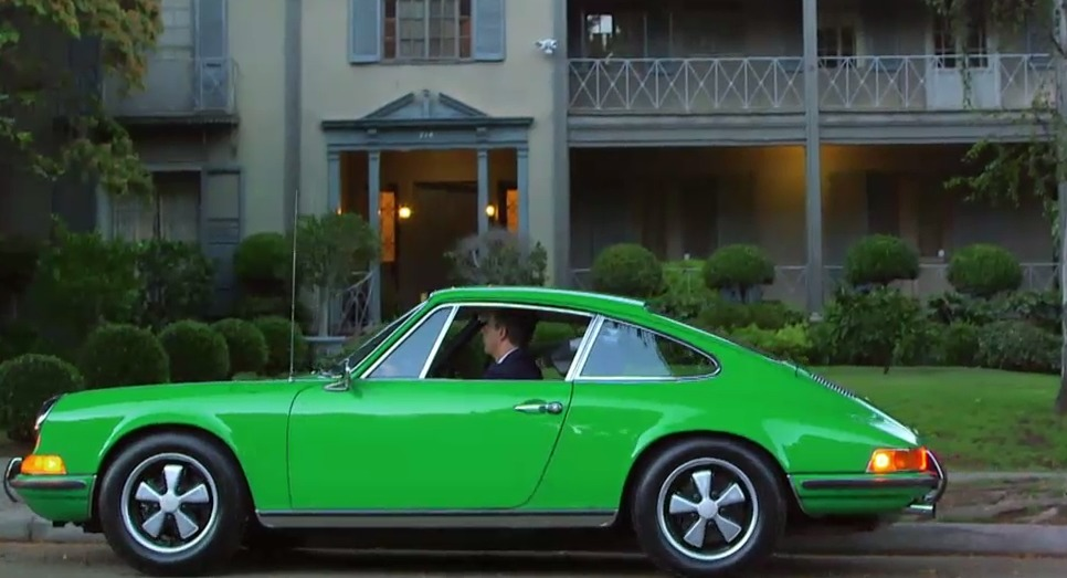 Jerry drives the 1970 Porsche 'Henri' in his show. The green body of the car gives it a distinct look and feel