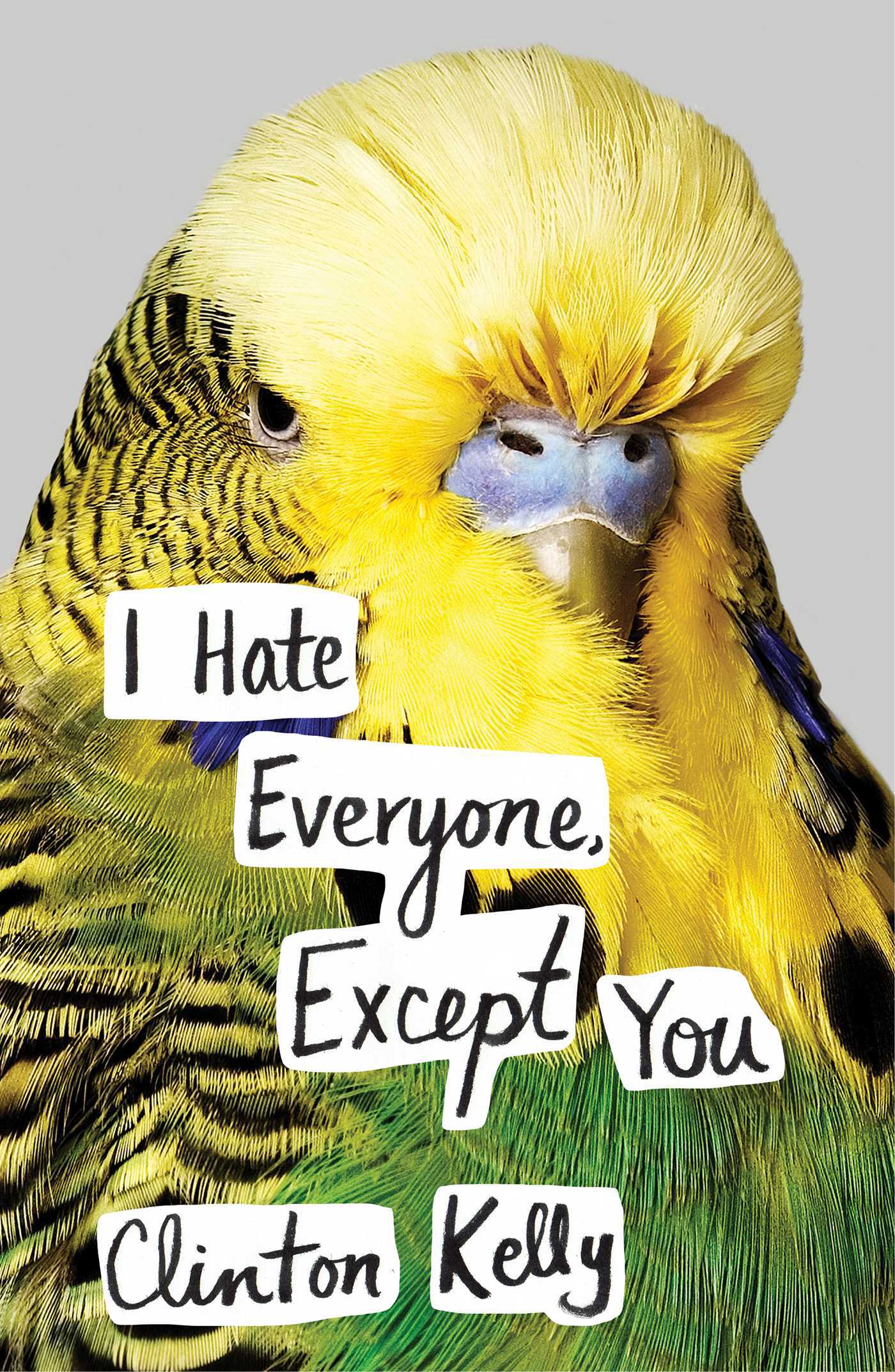 Clinton Kelly's 2017 released memoir, I Hate Everyone, Except You's cover. It has a yellow-green bird.