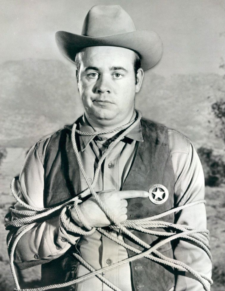 black and white image of Tim Conway. He is wearing a sheriff's uniform