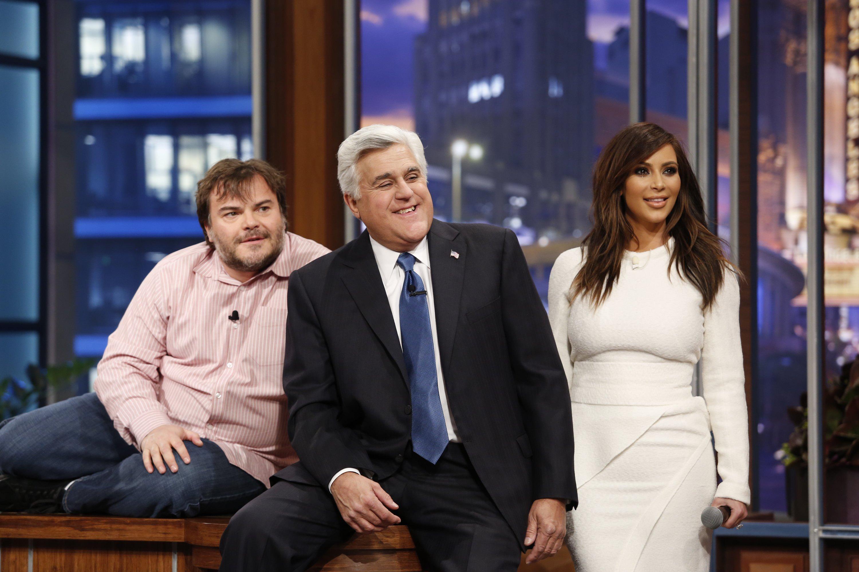 From the left : Jack Black, Jay Leno and Kim Kardashain
