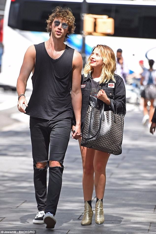 Ashley Benson and a mysterious male taking a stoll in Manhattan, NY