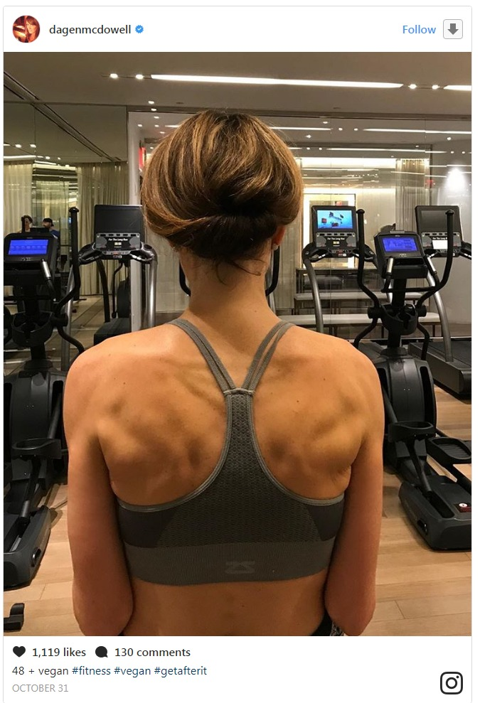 Dagen McDowell's Instagram post where is in a gym exercising. She is showing off her gym body and is proud about it.