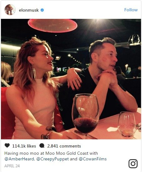 Elon Musk's Instagram post about him and Amber enjoying his a romantic dinner. There have been rumors of them dating since past few months.