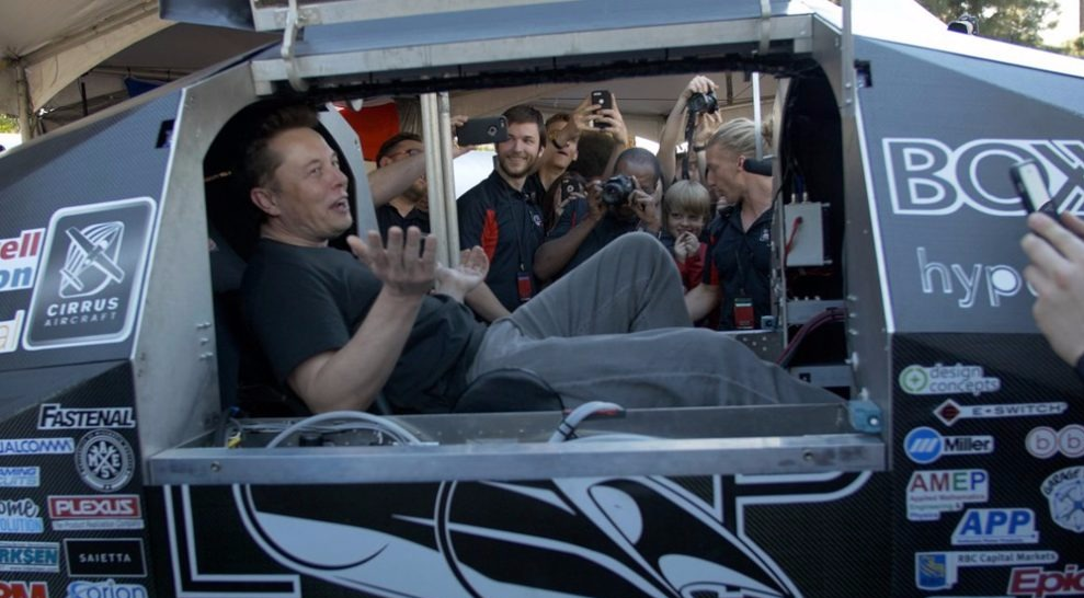 Elon Musk testing the Hyperloop pod. Hyperloop is a transportation system that is safer than train and airplane.