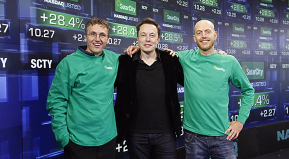 Elon Musk with his cousins: Lyondon Rive and Peter Rive (co-founders of SolarCity)