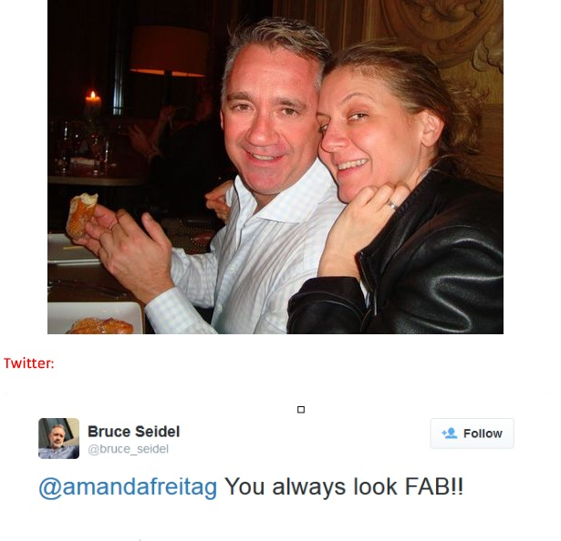 Chef Amanda Freitag hugging Bruce Seidel from right.