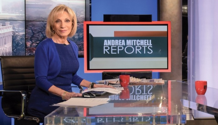 Andrea Mitchell on her show Andrea Mitchell Reports. The show has helped increase her net worth.