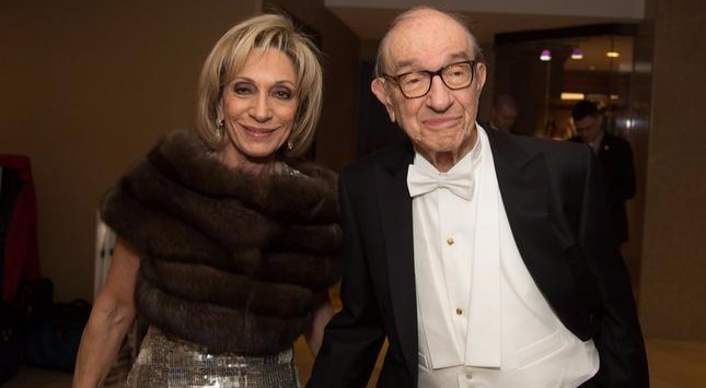 Andrea Mitchell with husband Alan Greenspan at 130th Annual Gridiron Club Dinner at Washington Renaissance Hotel