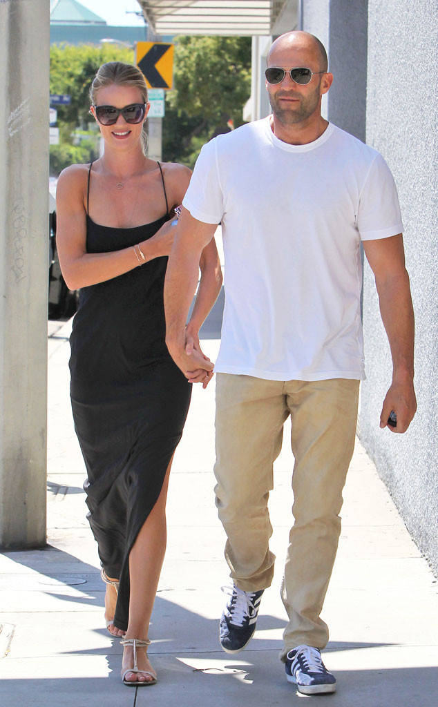 Jason Statham takes a stroll with Rosie Huntington with hand in hand