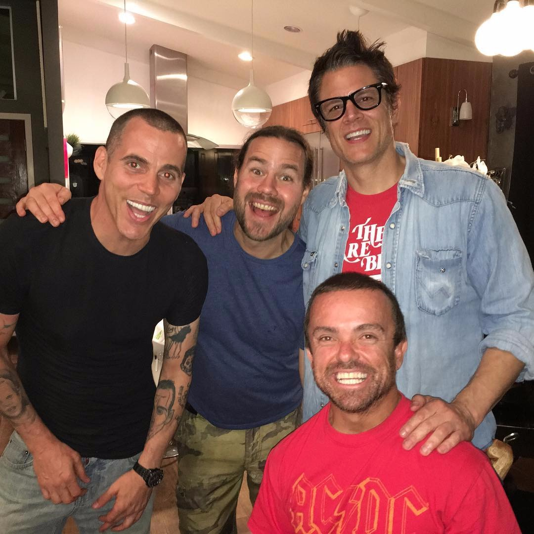 Chris Pontius with his Wildboyz co-stars Johnny Knoxville, Jason Acuña and Steve-O