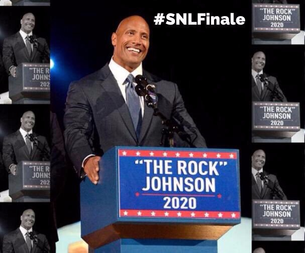 Dwaybe Johnson's joked about his presidential candidacy 2020 in Saturday Night Live season finale in May 2017