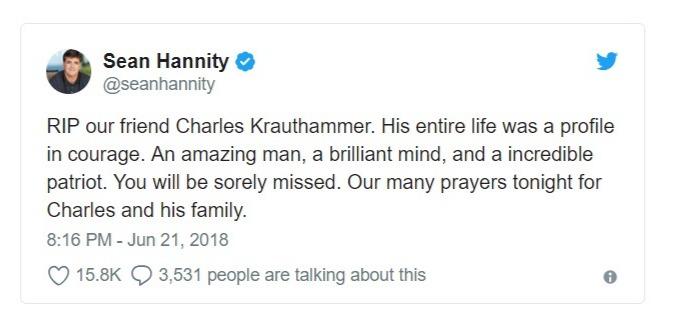 Sean Hannity's tweet on Charles Krauthammer demise