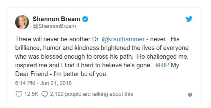 Shannon Bream's tweet on Charles Krauthammer death