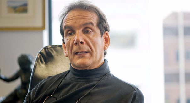 Charles Krauthammer in his wheelchair, he has been recovering from a surgery