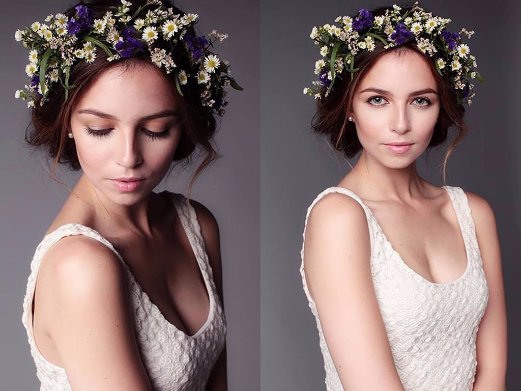 A collage of Lisa Gaskarth's images. In both the pictures, Lisa is wearing a sleeveless white gown. She has worn flower tiara.