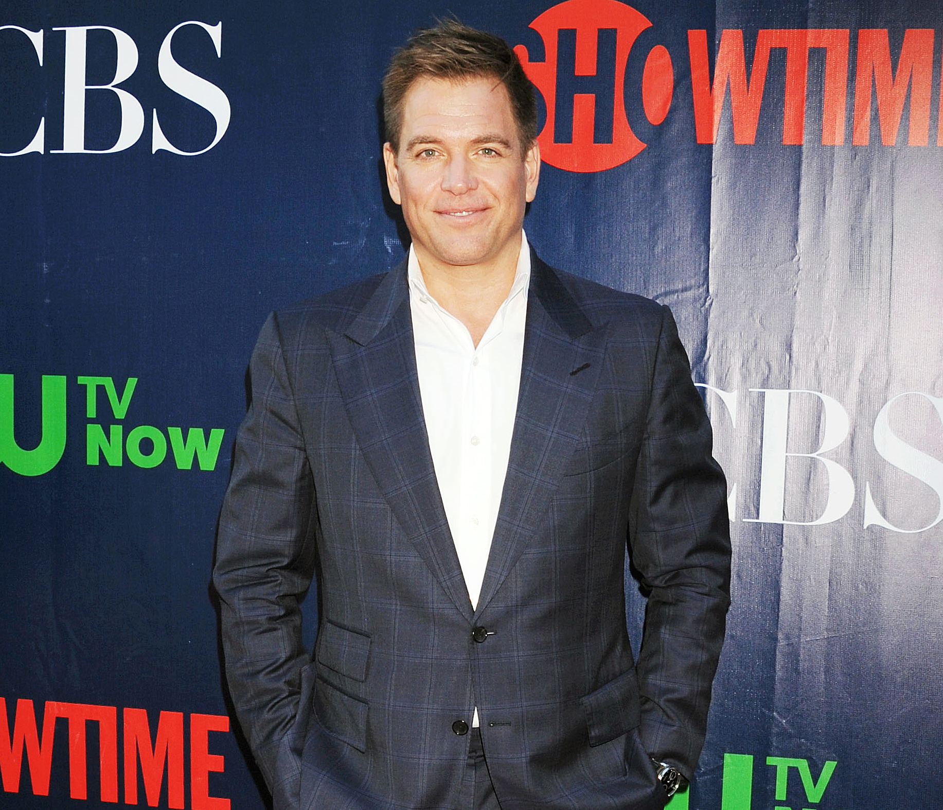 Michael Weatherly posing for a picture wearing a suit