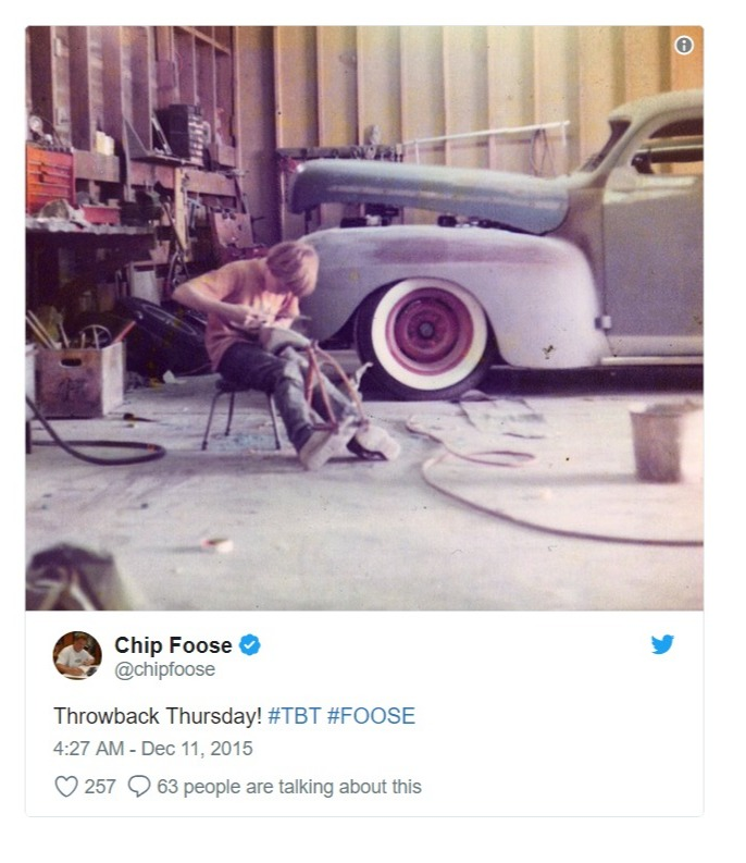 Chip Foose shares a snap from his childhood on Twitter