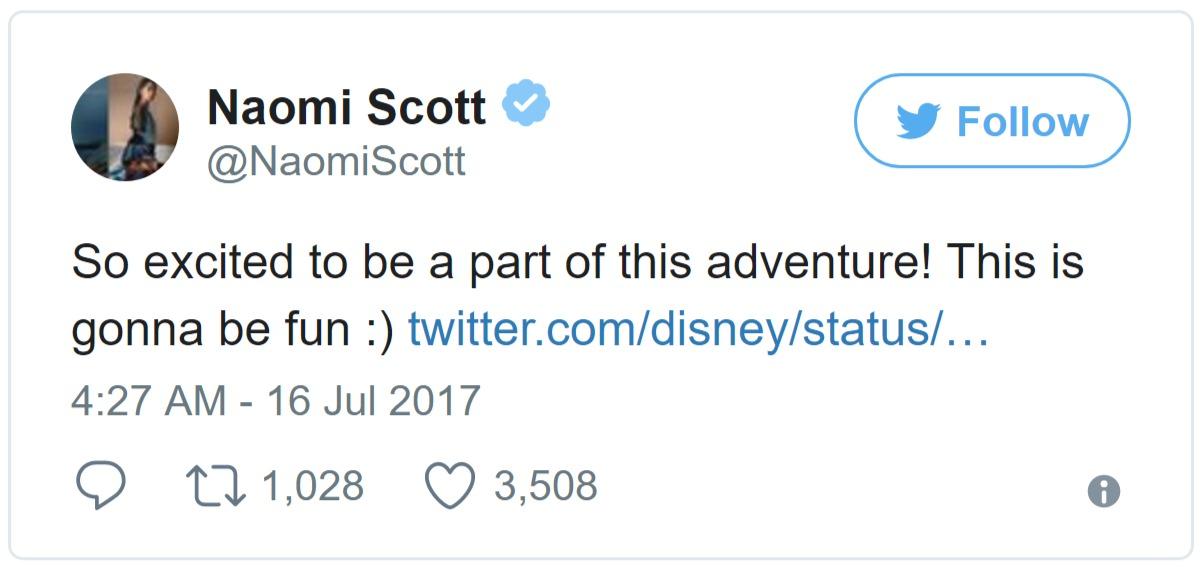 Naomi Scott tweet about her role in Disney's Aladdin