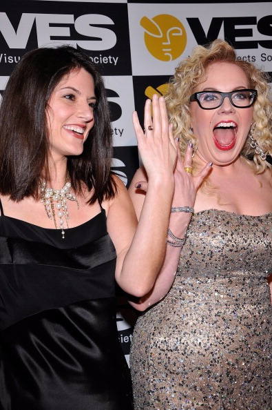 Kirsten Vangsness and Melanie Goldstein showing their engagement ring, when they were in relation