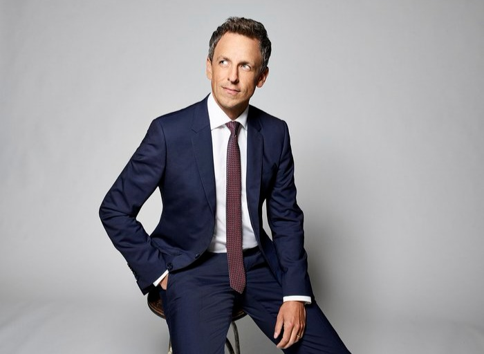 Seth Meyers poses for a photo shoot on his glamorous suit. The style and glamour he delivers on camera show the personality of his net worth in millions.