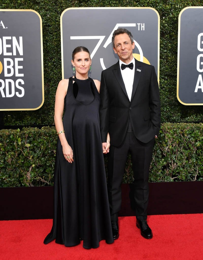 Seth Meyers and his pregnant wife attended the Golden Globes Awards 2018 together. The couple was spotted in smiles in their black attire holding each other's hand.