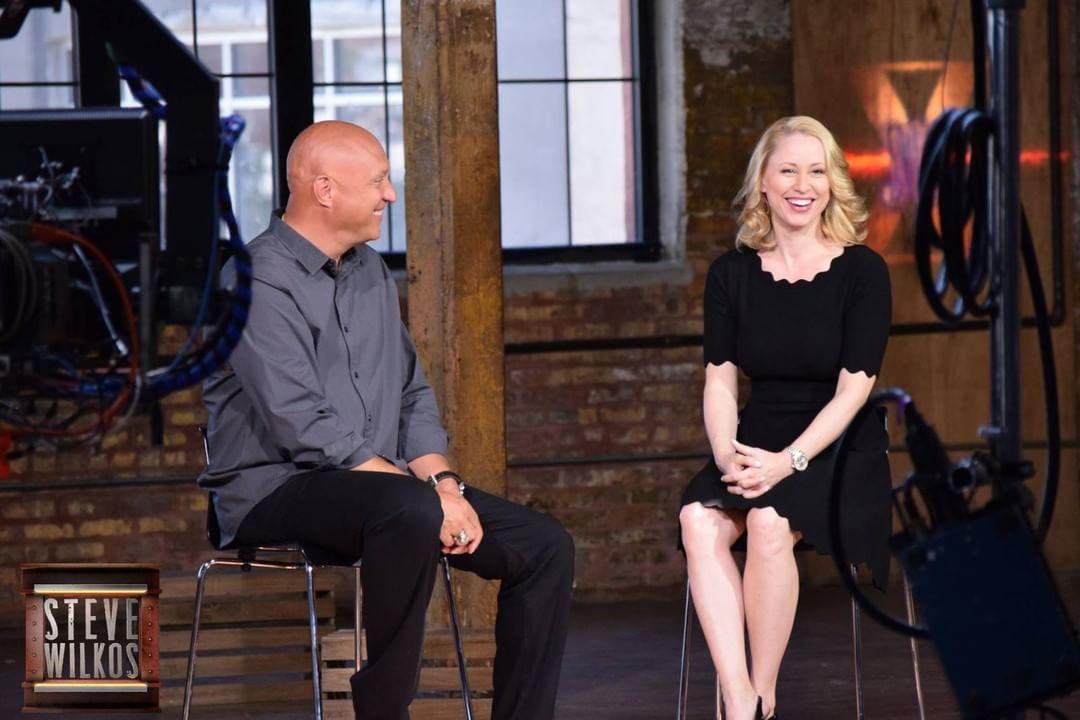 Steve Wilkos on the set of The Steve Wilkos Show with wife Rachelle Wilkos