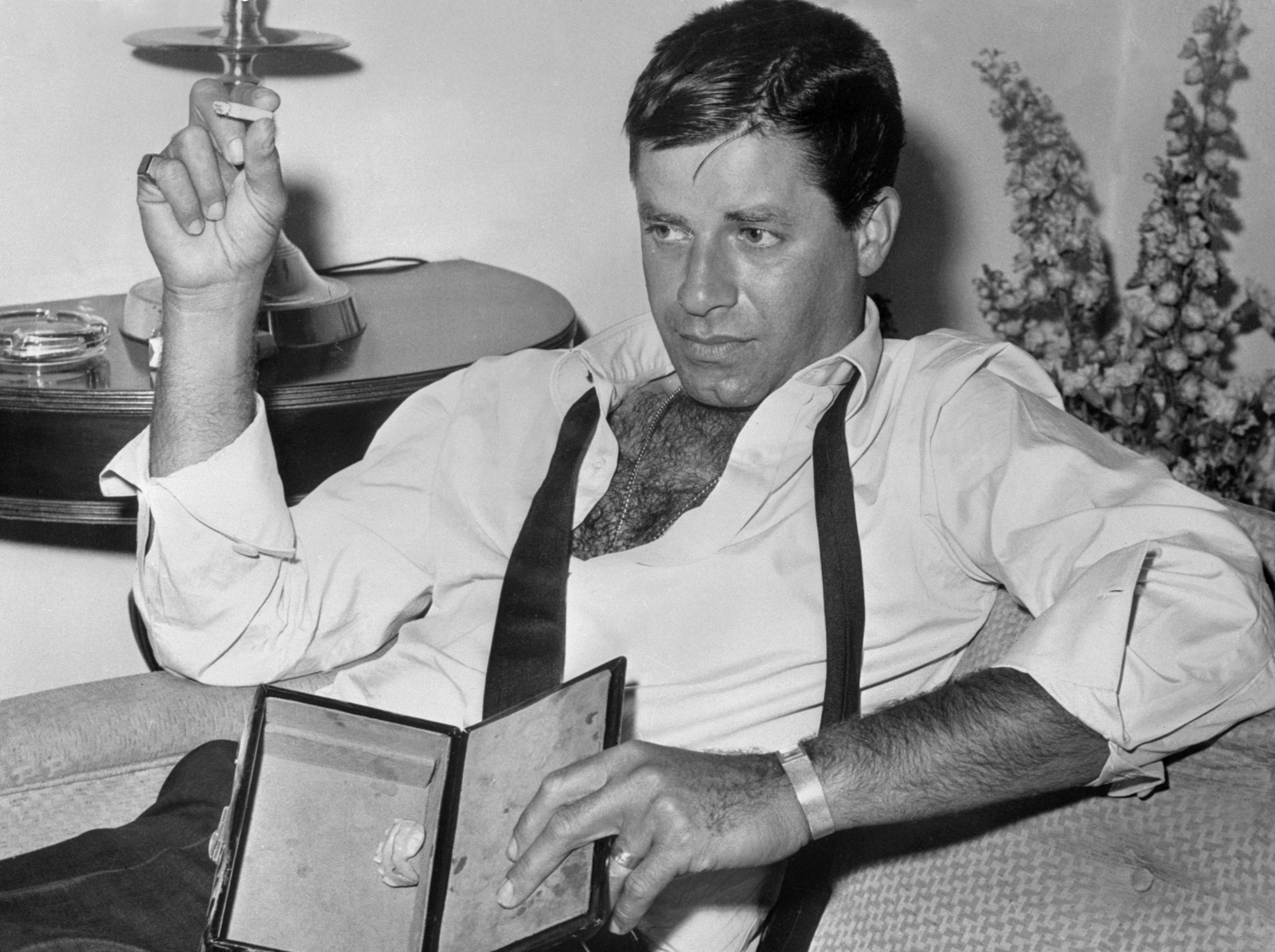 Jerry Lewis sitting on a chair