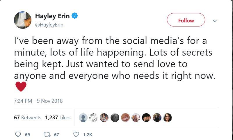Hayley Erin's tweet