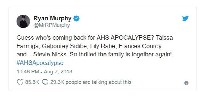 Ryan Murphy's tweet regarding the cast of American Horror Story season 8